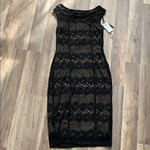 Black mesh cocktail dress